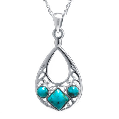 Enhanced Turquoise Sterling Silver Openwork Teardrop Pendant Necklace