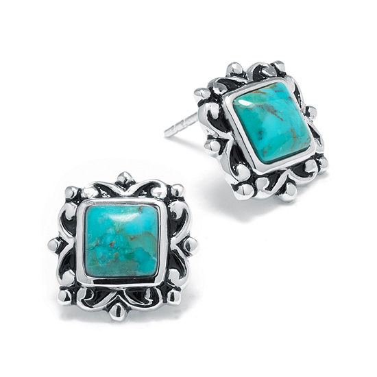 Enhanced Turquoise Sterling Silver Square Stud Earrings