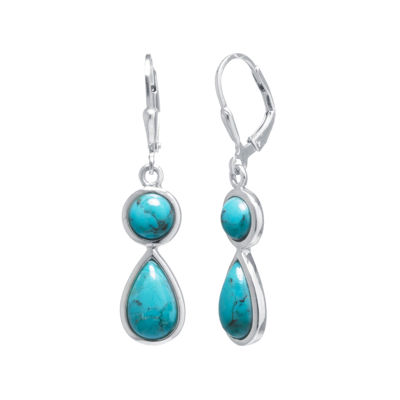 Enhanced Turquoise Sterling Silver Double-Drop Earrings
