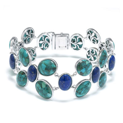 Enhanced Turquoise and Dyed Lapis Sterling Silver Wide-Link Bracelet