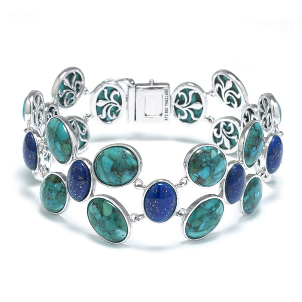 Fine Jewelry Enhanced Turquoise and Dyed Lapis Sterling Silver Wide-Link Bracelet sOJj1HNNw