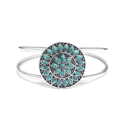 Enhanced Turquoise Sterling Silver Medallion Cuff Bracelet