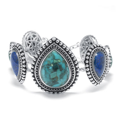 Enhanced Turquoise and Multi-Stone Sterling Silver Bracelet