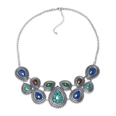 Enhanced Turquoise and Multi-Stone Sterling Silver Necklace