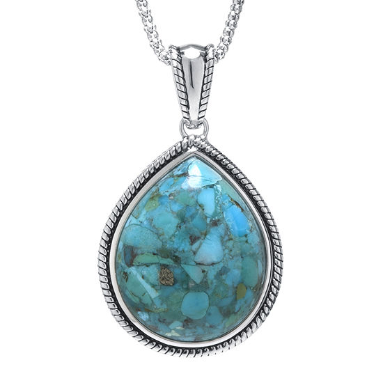 Enhanced Turquoise Sterling Silver Teardrop Pendant Necklace