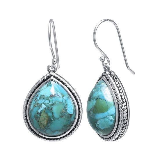 Enhanced Turquoise Sterling Silver Teardrop Drop Earrings
