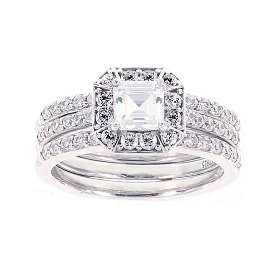DiamonArt® Cubic Zirconia Sterling Silver Engagement Ring with Enhancer
