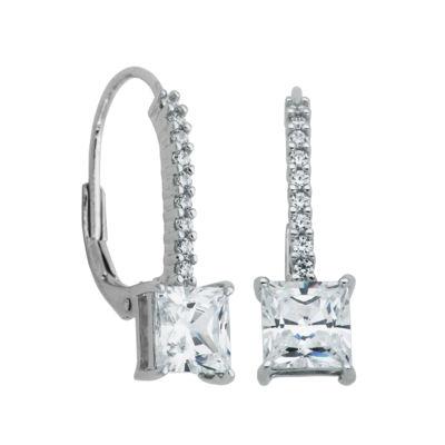 100 Facets by DiamonArt® Cubic Zirconia Square Drop Earrings