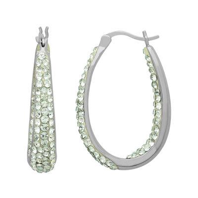 Light Green Crystal Sterling Silver Hoop Earrings