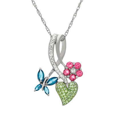 Crystal Whimsical Trio Sterling Silver Pendant Necklace
