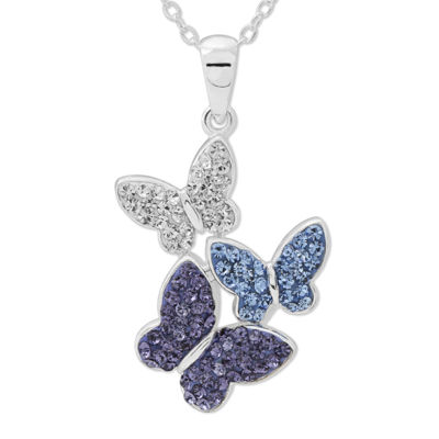 Crystal Butterflies Sterling Silver Pendant Necklace
