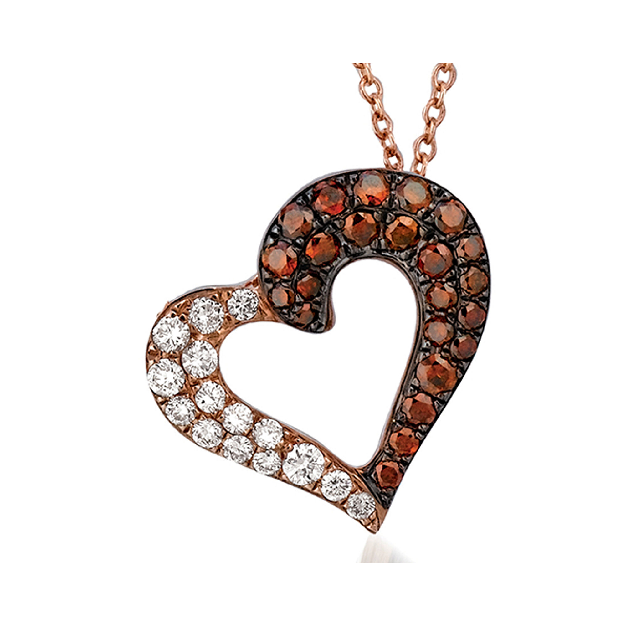 "LIMITED QUANTITIES Grand Sample Sale"" by Le Vian 3/8 CT. T.W Vanilla Diamonds & Cherryberry Diamonds"" 14K Strawberry Gold Le Vian Exotics Heart Penda"