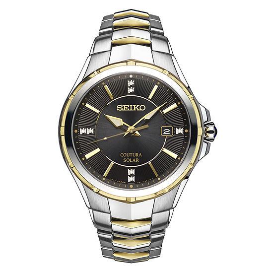 Seiko Coutura Mens Diamond Accent Silver Tone Stainless Steel Bracelet Watch-Sne444