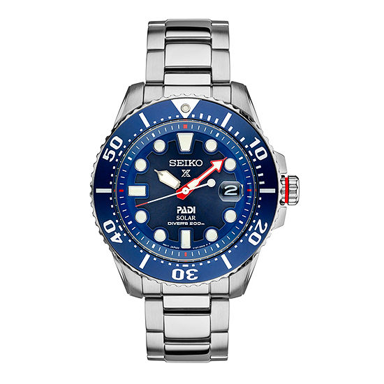 Seiko Dive Mens Silver Tone Stainless Steel Bracelet Watch-Sne435