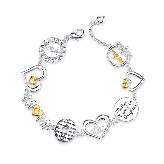 Footnotes Mom Silver Over Brass Link Bracelet