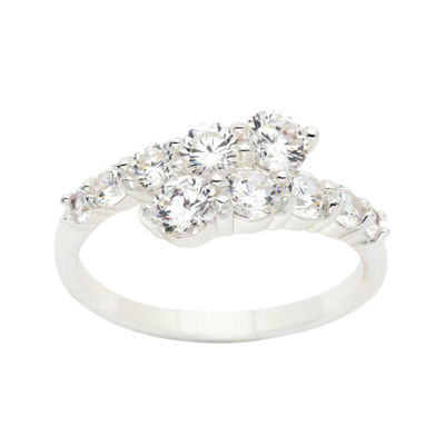 Sparkle Allure Womens Clear Silver Over Brass Bypass Ring