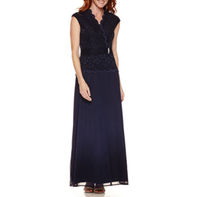 Blu Sage Sleeveless Scallop Neck Embellished Evening Gown