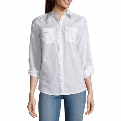 St. John's Bay Long Sleeve Button-Front Shirt - Tall