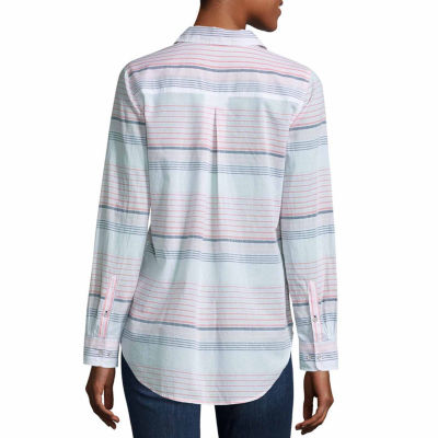 a.n.a Long Sleeve Y Neck Woven Stripe Blouse-Talls