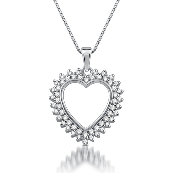 Womens 1/4 CT. T.W. White Diamond 10K Gold Heart Pendant Necklace