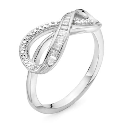 Infinite Promise Womens 1/10 CT. T.W. Genuine White Diamond Sterling Silver Cocktail Ring
