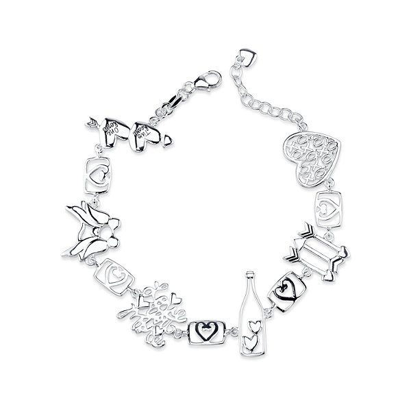 Inspired Moments Womens 8 Inch Sterling Silver Link Bracelet