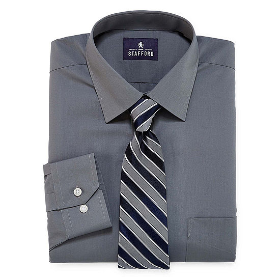 Stafford Box Shirt And Tie Set Big And Tall Mens Point Collar Long Sleeve Stretch Shirt + Tie Set