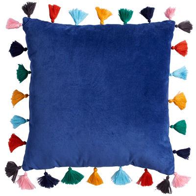 Scribble Velvet Throw Pillow With Tassels- Indigo