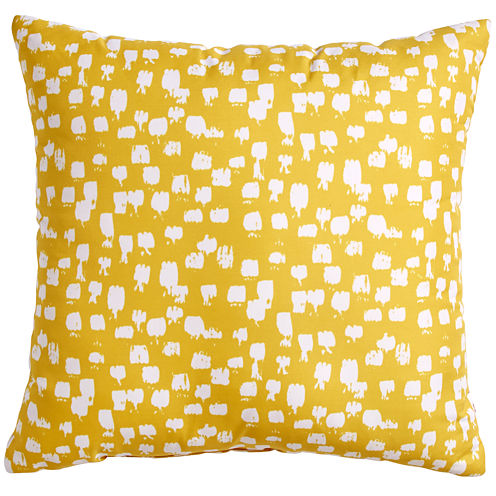 Scribble Paint Brush Yellow Throw Pillow
