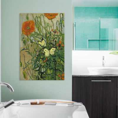 Icanvas Butterflies And Poppies Canvas Art