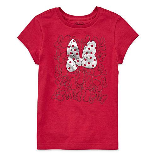 Disney Short Sleeve Crew Neck Minnie Mouse T-Shirt-Big Kid Girls
