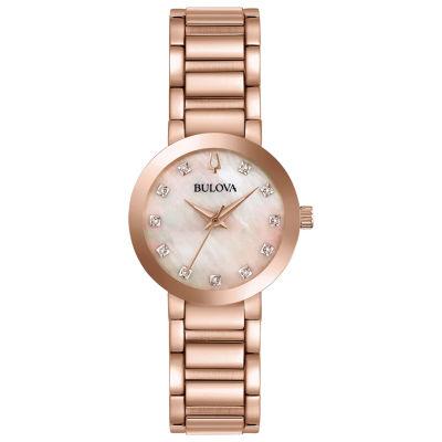 Bulova Womens Rose Goldtone Bracelet Watch-97p132