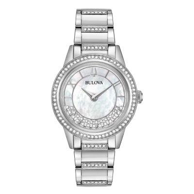 Bulova Womens Silver Tone Bracelet Watch-96l257