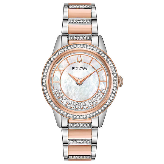 Bulova Turnstyle Womens Crystal Accent Two Tone Stainless Steel Bracelet Watch-98l246