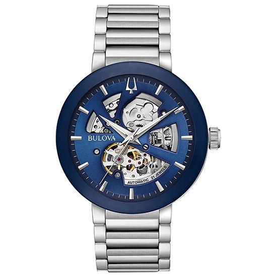 Bulova Futuro Mens Automatic Silver Tone Stainless Steel Bracelet Watch-96a204