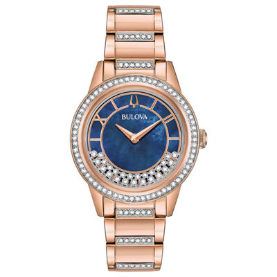 Bulova Womens Rose Goldtone Bracelet Watch-98l247