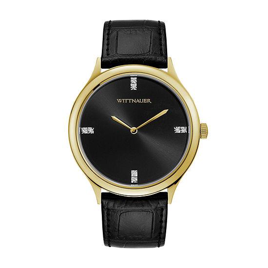 Wittnauer Mens Black Strap Watch-Wn1018