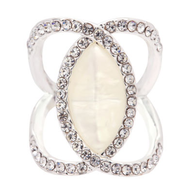 Sparkle Allure Womens Clear Simulated Pearl Cocktail Ring