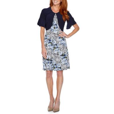 Perceptions Short Sleeve Puff Print Floral Jacket Dress