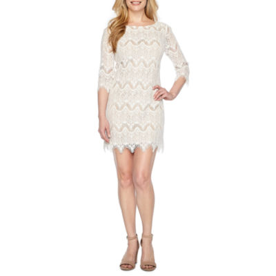 Ronni Nicole 3/4 Sleeve Pattern Sheath Dress-Petites