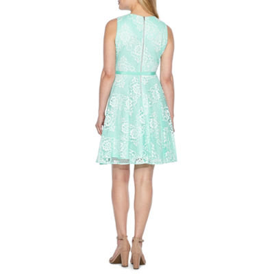 Danny & Nicole Sleeveless Floral Fit & Flare Dress-Petites