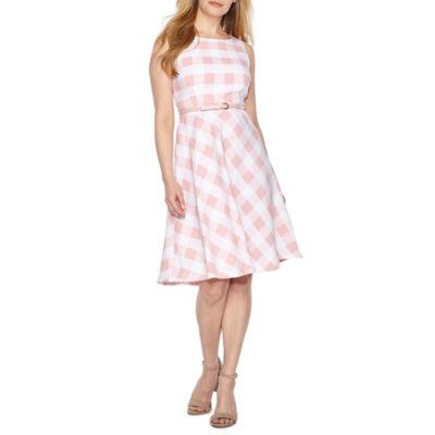 R & K Originals Sleeveless Plaid Fit & Flare Dress-Petites