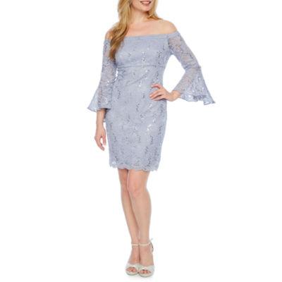 Scarlett Long Sleeve Pattern Shift Dress-Petite