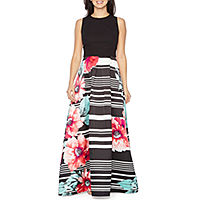 Melrose Sleeveless Floral Stripe Evening Gown Deals