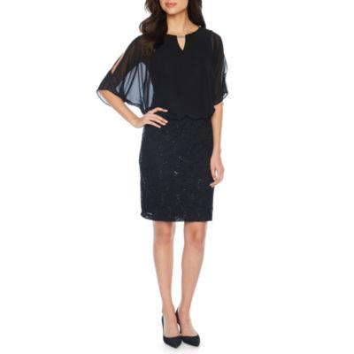 Scarlett Short Sleeve Cape Sheath Dress
