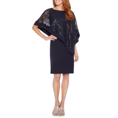 R & M Richards Elbow Sleeve Embellished Cape Sheath Dress