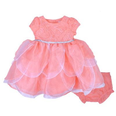 Nanette Baby Short Sleeve Coral Petal Dress Baby Girls