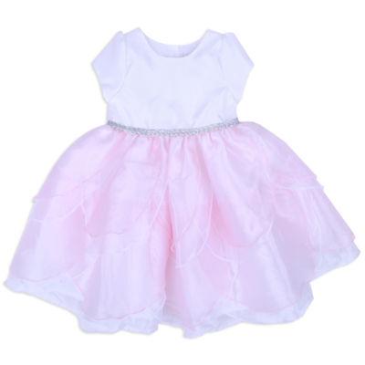 Nanette Baby Short Sleeve Pink White Petal Dress - Baby Girls