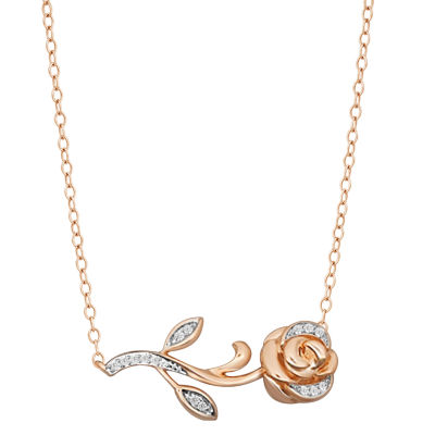 "Enchanted Disney Fine Jewelry 1/10 CT. T.W. Diamond 10K Rose Gold ""Beauty and the Beast"" Pendant Necklace"