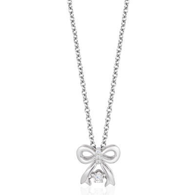 Enchanted Disney Fine Jewelry Genuine White Diamond 10K White Gold Bow Snow White Pendant Necklace